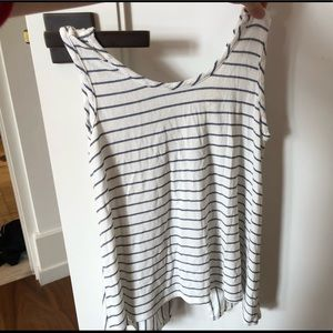 Tops - White and blue striped ribbed shirt